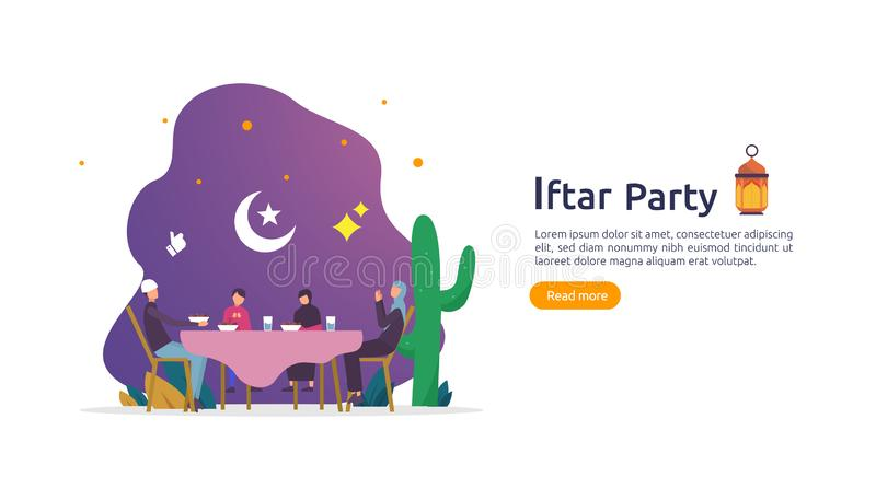 Iftar Eating After Fasting feast party concept. Moslem family dinner on Ramadan Kareem or celebrating Eid with people character. stock illustration
