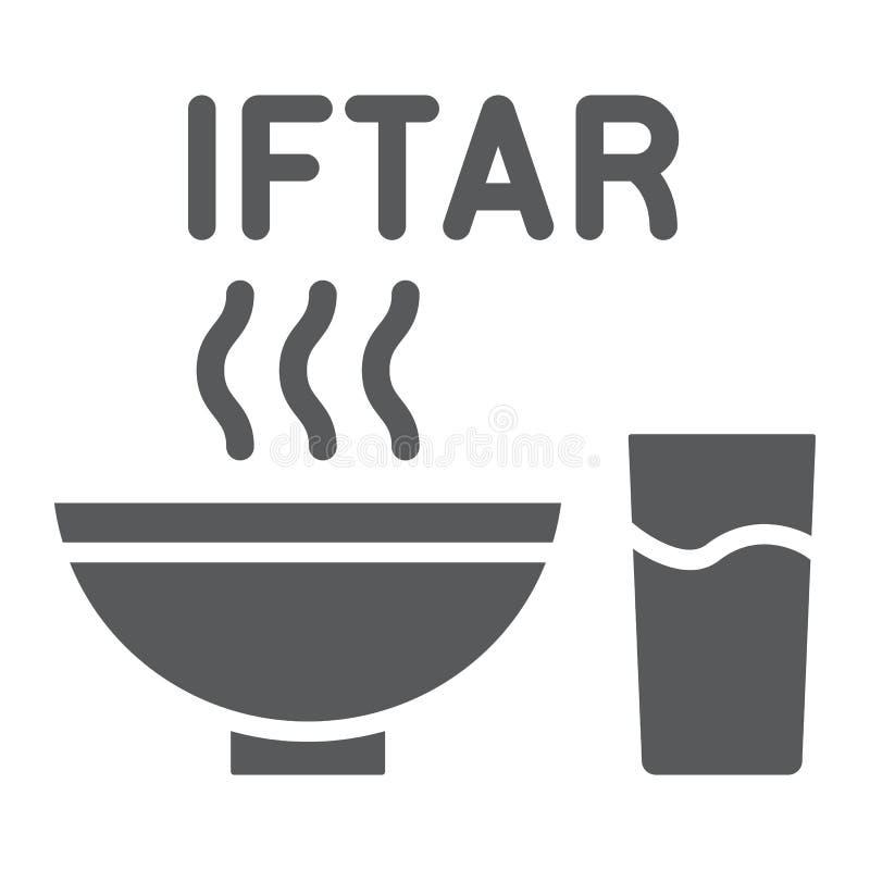 Iftar Glyphikone Ramadans, Nahrung und Araber, Mahlzeitzeichen, Vektorgrafik, ein festes Muster auf einem weißen Hintergrund lizenzfreie abbildung