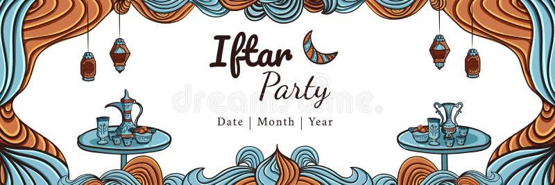 Hand drawn iftar party horizontal banner stock photos