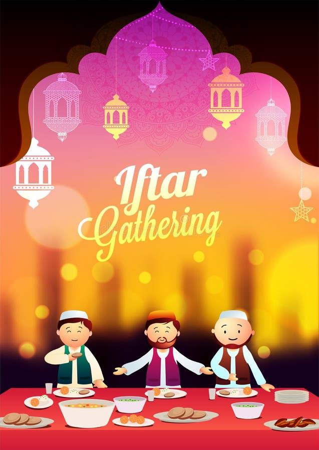 Iftar przyjęcia pojęcie z muzułmańskimi mężczyzna cieszy się ucztę na wieczór półdupkach royalty ilustracja