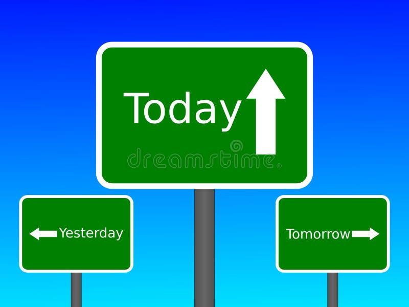 Igår i dag i morgon vektor illustrationer