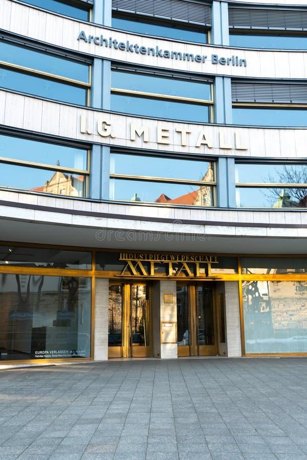 IG Metall. Berlin, Germany - April 19, 2019: Headquarters of IG Metall German: Industriegewerkschaft Metall, Industrial Union of Metalworkers`, dominant stock photography