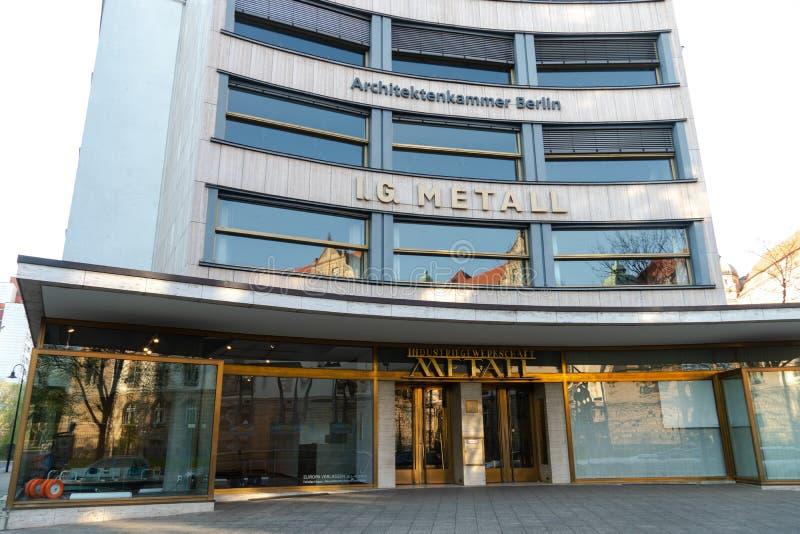 IG Metall. Berlin, Germany - April 19, 2019: Headquarters of IG Metall German: Industriegewerkschaft Metall, Industrial Union of Metalworkers`, dominant royalty free stock photo