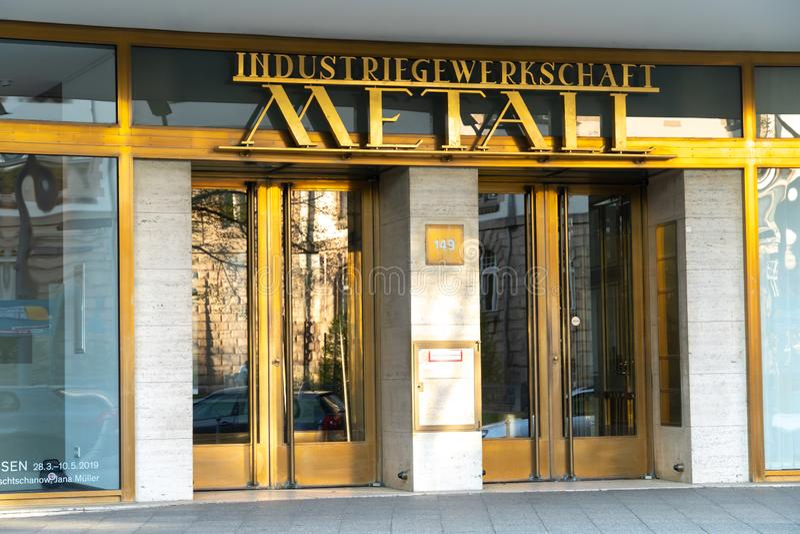 IG Metall. Berlin, Germany - April 19, 2019: Headquarters of IG Metall German: Industriegewerkschaft Metall, Industrial Union of Metalworkers`, dominant stock images