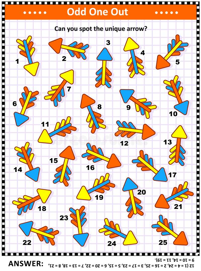 Picture riddle - find the unique arrow. IG training visual puzzle with colorful arrows suitable both for kids and adults: Spot the odd one out. Find the unique royalty free illustration