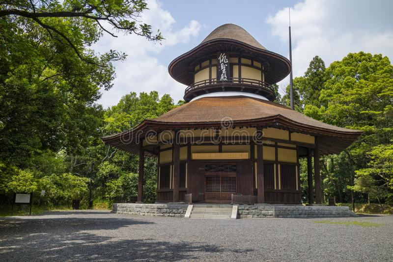 Iga Ueno - Japan, June 1, 2017: Haiseiden Hall, a building in th. E shape of a hat, which commemorates the 300th anniversary of Basho`s birth in Isa Ueno Park stock images