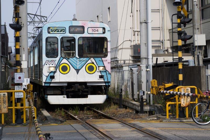 Iga Ueno - Japan, Juni 1, 2017: Kintetsu privat järnväg, Iga Te royaltyfria foton