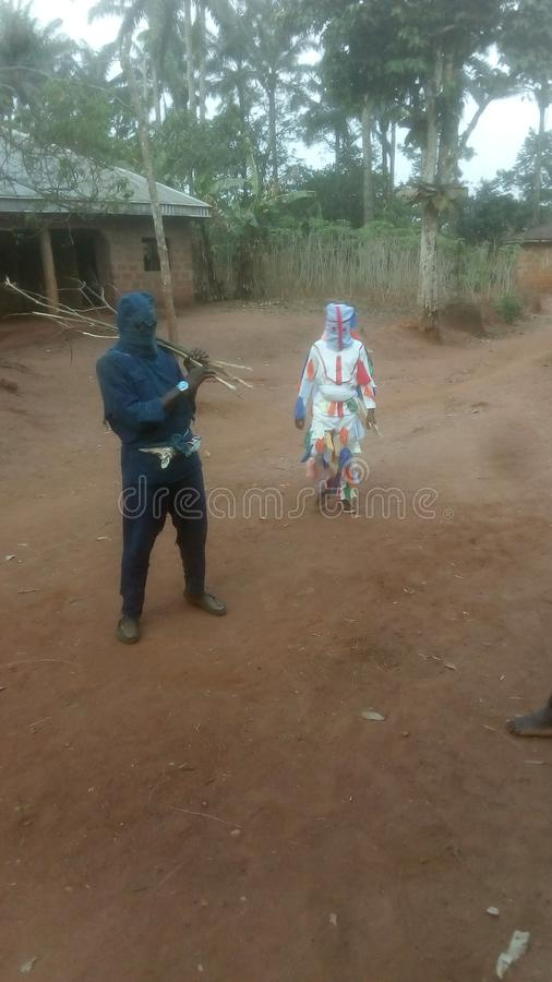 Igbo culture. This is one of igbo culture here in Enugu state, igbo etiti LGA, ozalla town. This the dance of our masquerade of the year royalty free stock photo