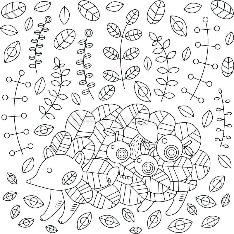 Igeles im Herbstwald mit Äpfeln, Blätter, Pilze Vektor vektor abbildung