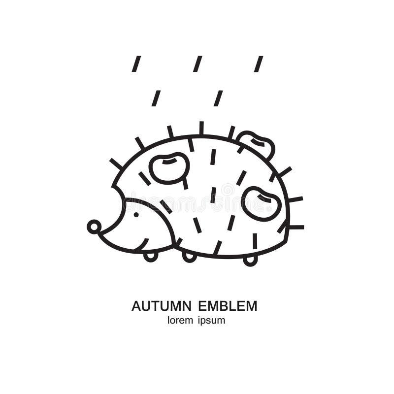 Igeles mit Äpfeln auf dem Rückseiten- und Regensymbol gemacht in der modischen Linie Art Wettervorhersagedesign lizenzfreie abbildung