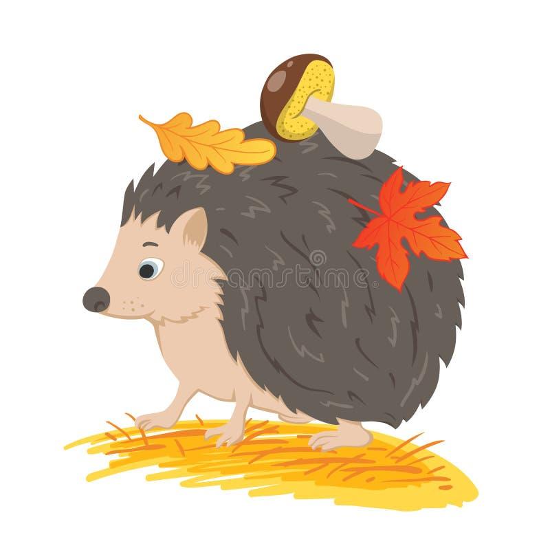 Igeles mit Herbstlaub und Pilz lizenzfreie abbildung