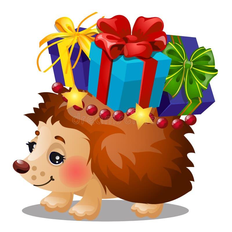 Igeles trägt einen Kasten mit Weihnachtsgeschenken mit dem farbigen Bandbogen, der auf weißem Hintergrund lokalisiert wird Probe  stock abbildung