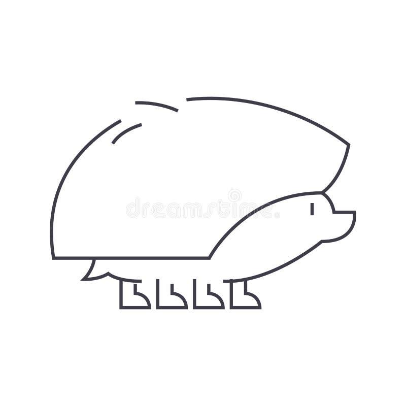 Igelkottvektorlinje symbol, tecken, illustration på bakgrund, redigerbara slaglängder royaltyfri illustrationer