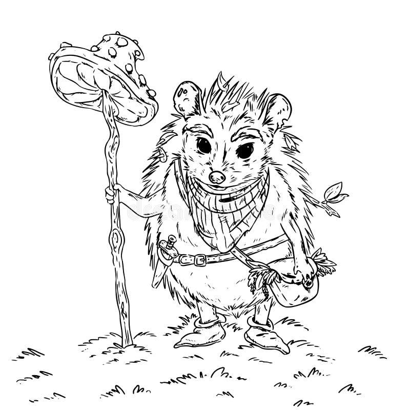 Igelsammlerphantasieabenteuer-Kinderbuchillustration stock abbildung