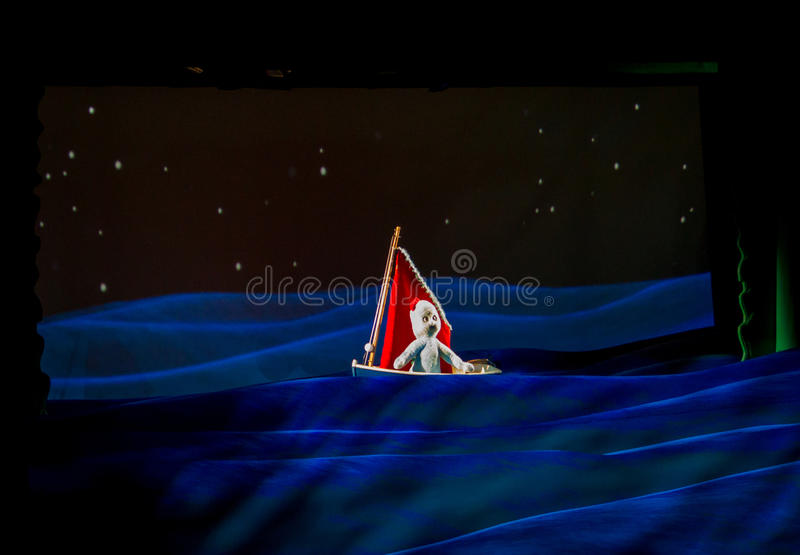 Igglepiggle in his boat editorial photography. Image of night  73364462