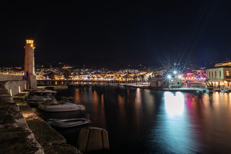Ight view of Rethymno town harbor at Crete island, Greece.  stock photography