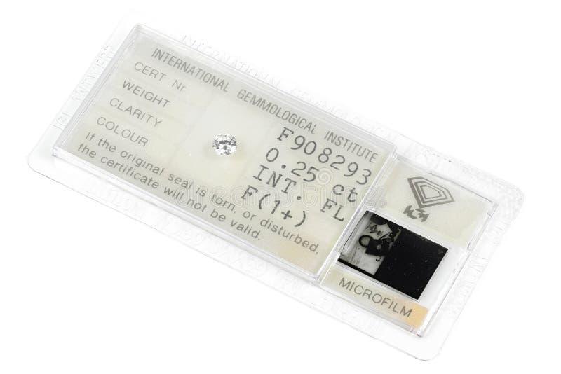 IGI certificou 0 diamante cortado brilhante de 25 ct fotos de stock royalty free