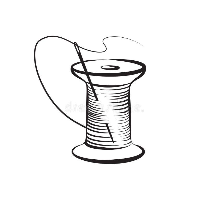 Igielna i niciana symbolu uszycia ikona Fancywork etykietka ilustracja wektor