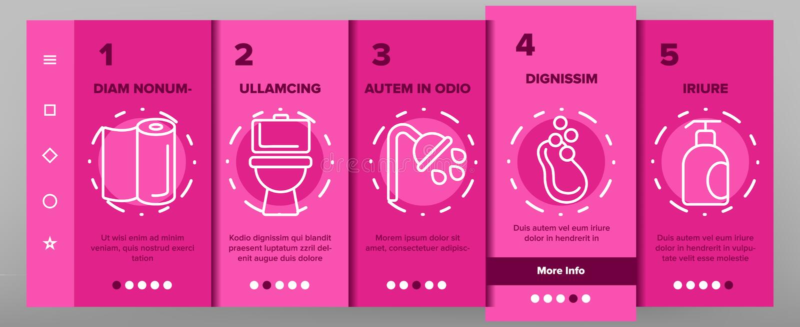 Igiene, linea sottile di pulizia vettore Onboarding delle icone illustrazione di stock