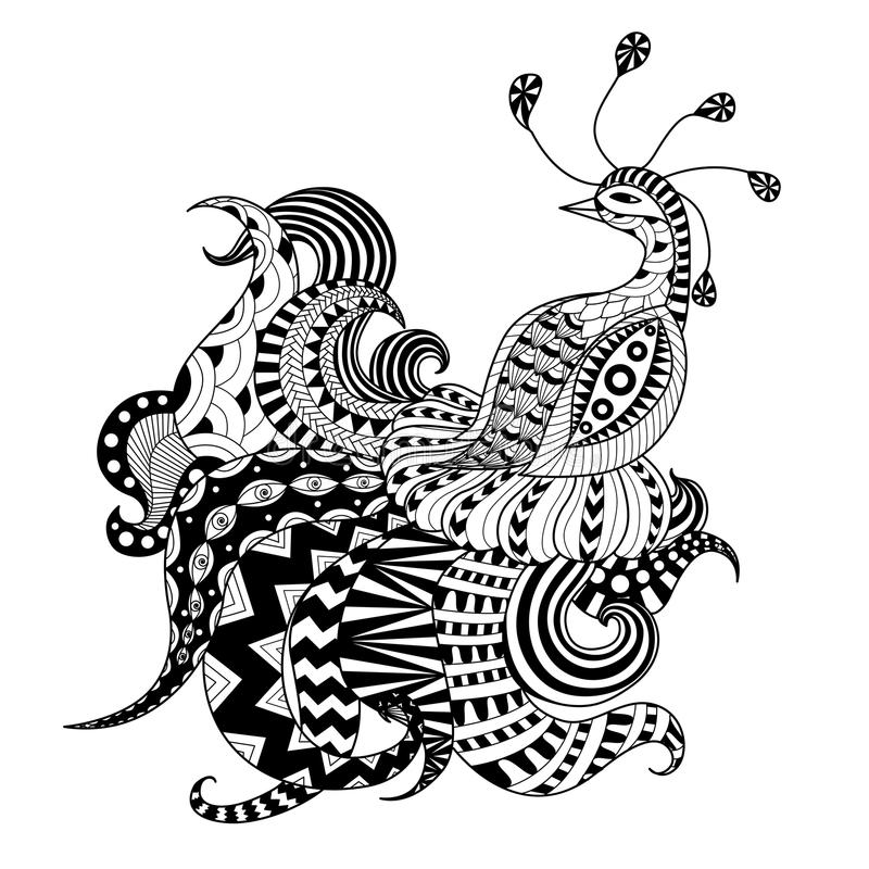 Igital drawing zentangle peacock royalty free illustration