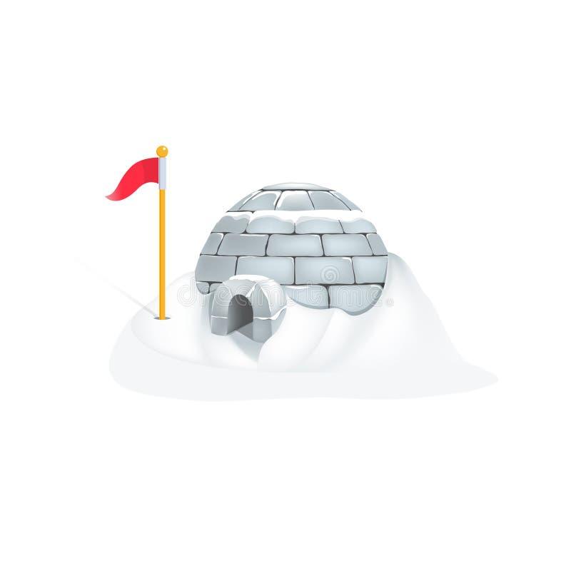 Iglù eschimese di vettore con forte nevicata royalty illustrazione gratis