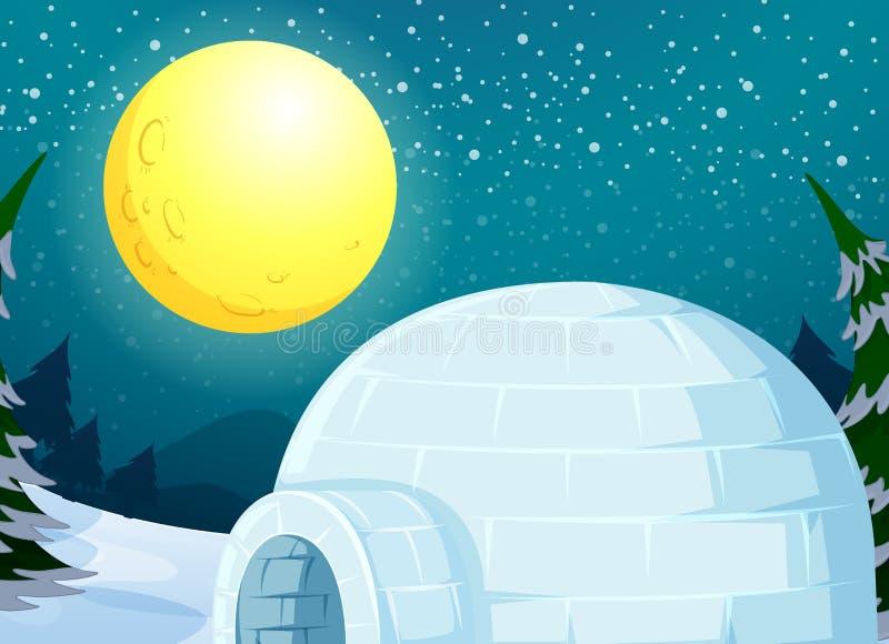Iglù nel paesaggio di inverno illustrazione di stock