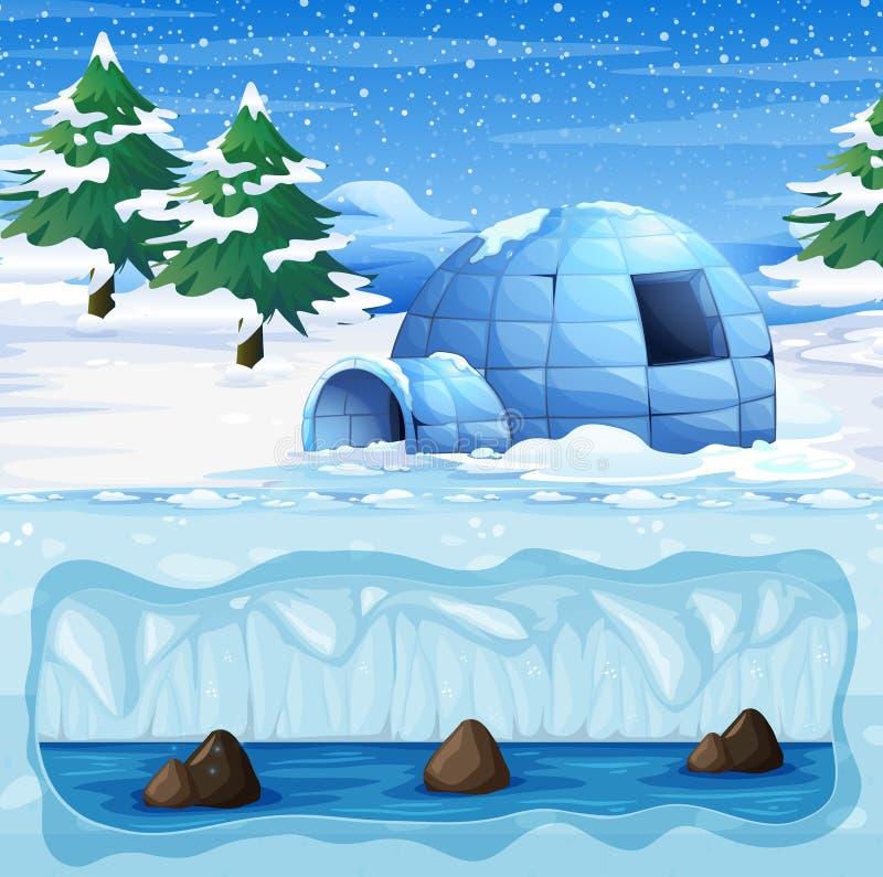 Iglú en el Polo Norte frío ilustración del vector