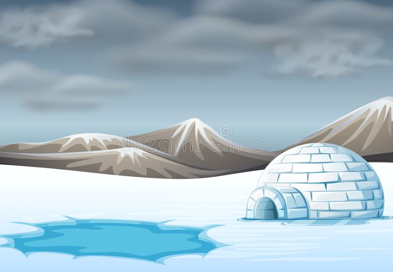 Iglú en terreno frío libre illustration