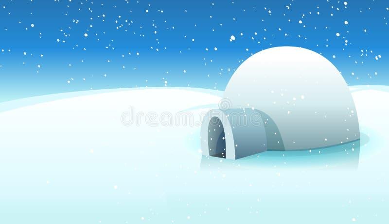 Iglú y fondo helado polar stock de ilustración