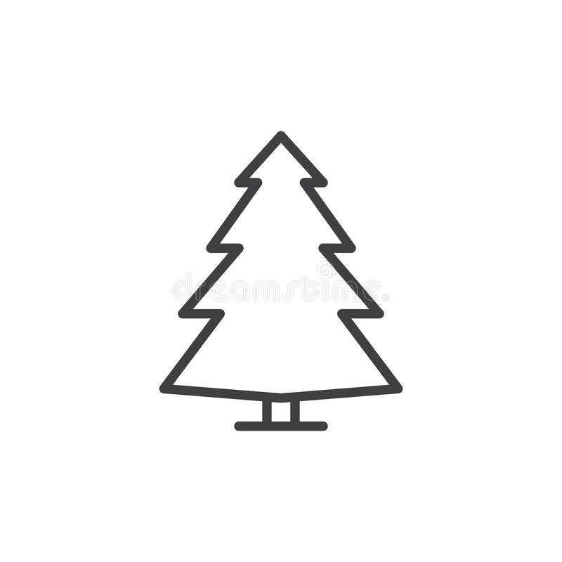 Iglasty drzewo, sosny kreskowa ikona, konturu wektoru znak, liniowy stylowy piktogram odizolowywający na bielu ilustracja wektor