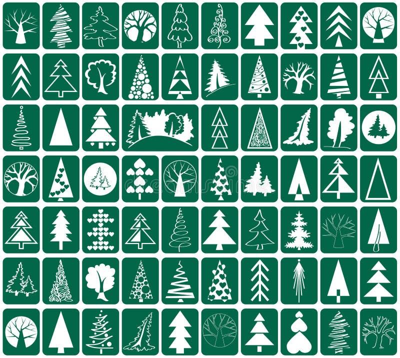 Iglastych i deciduous drzew ikony ilustracja wektor
