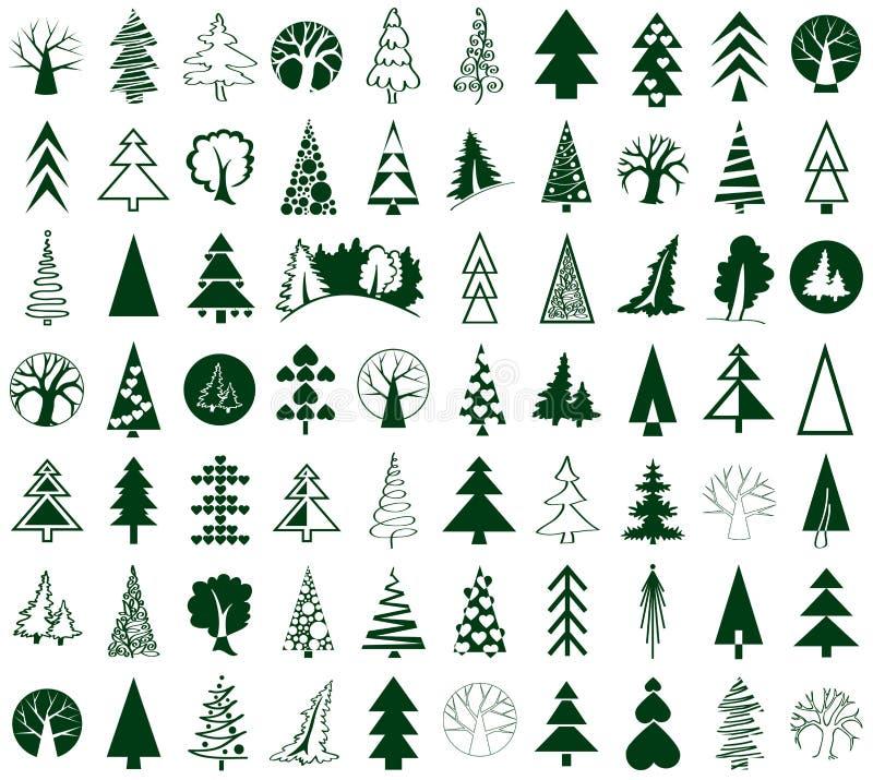 Iglastych i deciduous drzew ikony na bielu ilustracji
