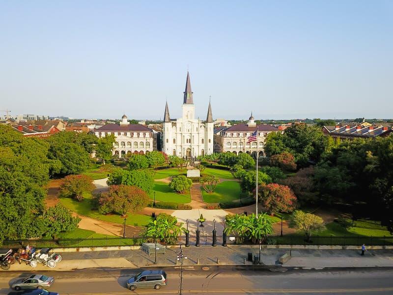 Iglesia aérea de Jackson Square Saint Louis Cathedral en nuevo Orlean imágenes de archivo libres de regalías