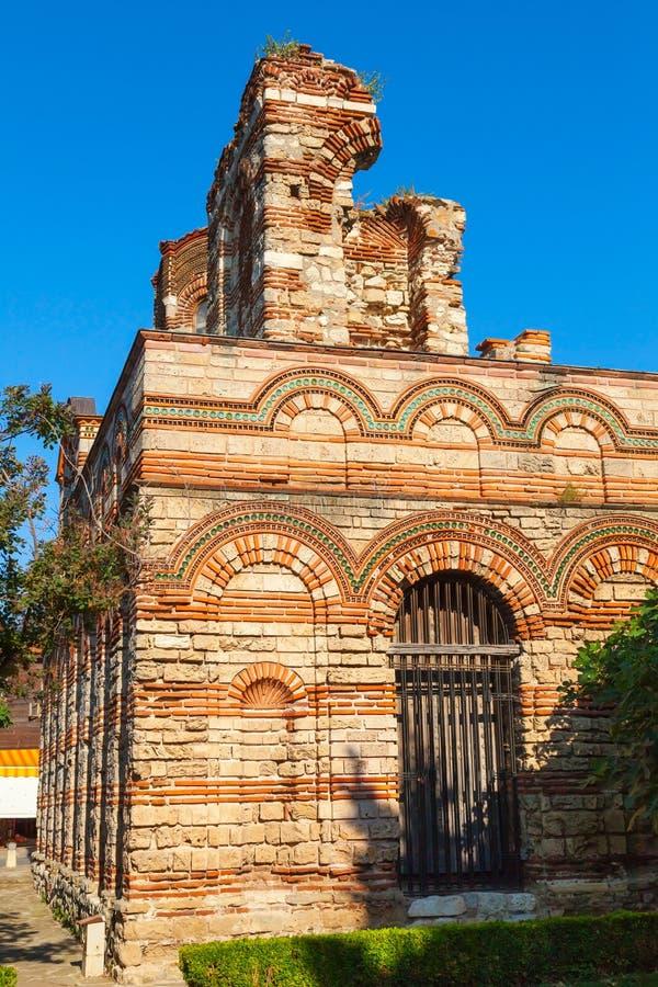 Iglesia arruinada de Cristo Pantokrator, Nessebar foto de archivo