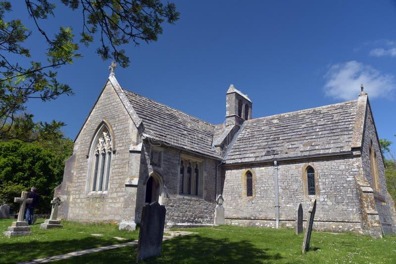 Iglesia arruinada, Tyneham imagenes de archivo