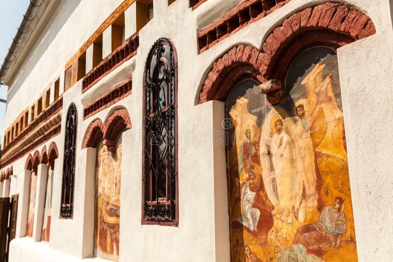 Iglesia Brancoveanu - pared exterior imagenes de archivo