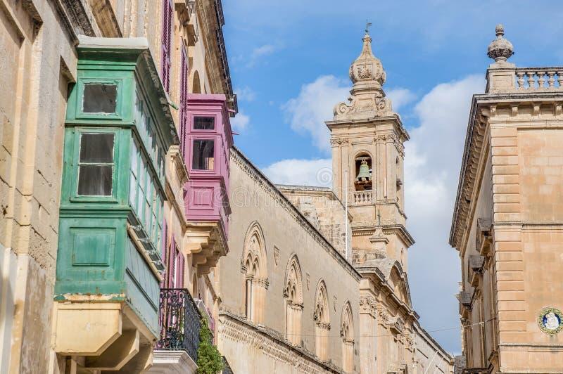 Iglesia carmelita en Mdina, Malta imagen de archivo libre de regalías