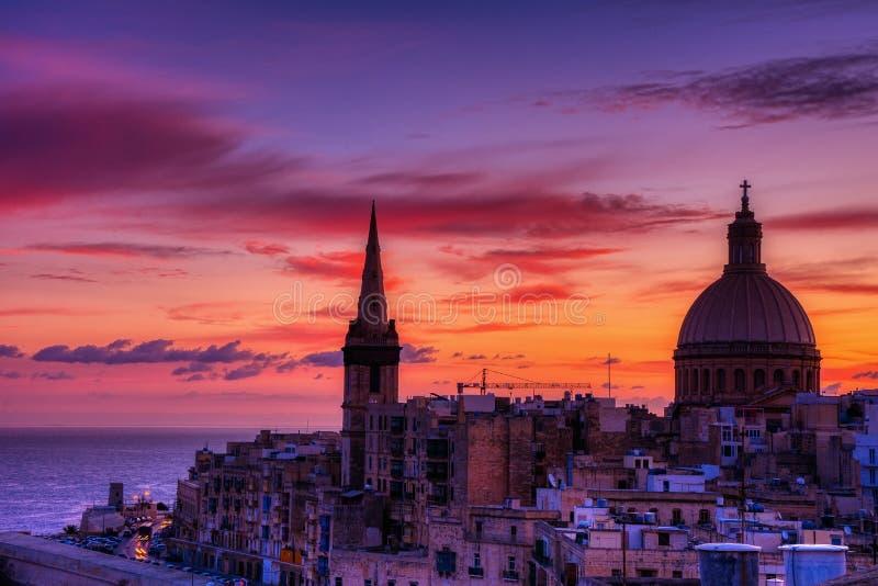 Iglesia carmelita Nuestra Señora del Carmelo en La Valeta, Malta imagen de archivo
