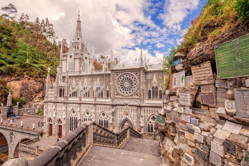 Iglesia católica colombiana de Las Lajas, América latina fotos de archivo