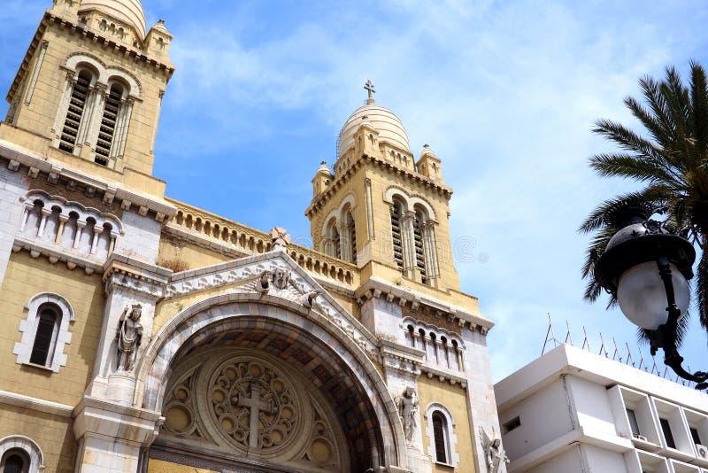 Iglesia católica de St Vincent de Paul en Túnez imágenes de archivo libres de regalías