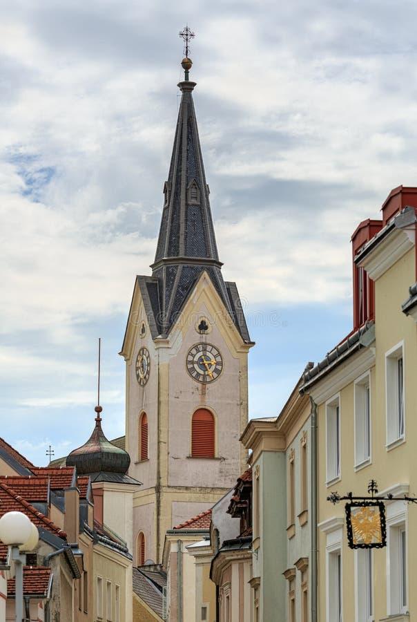 Iglesia católica vieja de St Lorenz Ybbs un der Donau, distrito Melk, una Austria más baja, Europa fotos de archivo libres de regalías