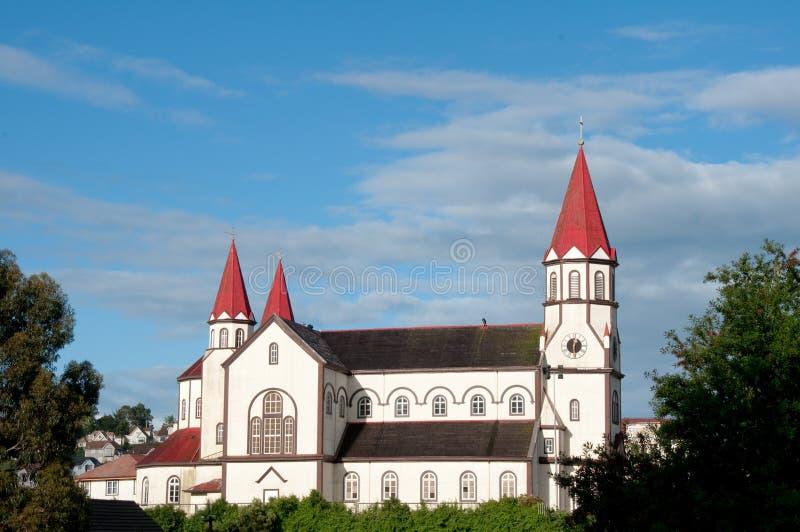 Iglesia catolic de Puerto Varas foto de archivo libre de regalías