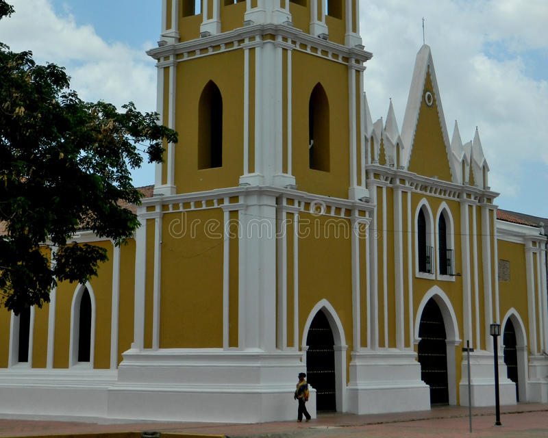 Iglesia Church St. Francisco. Iglesia San Francisco, is a baroque-style building that dates from the colonial era and is erected in the city of Coro, Falcón stock photos