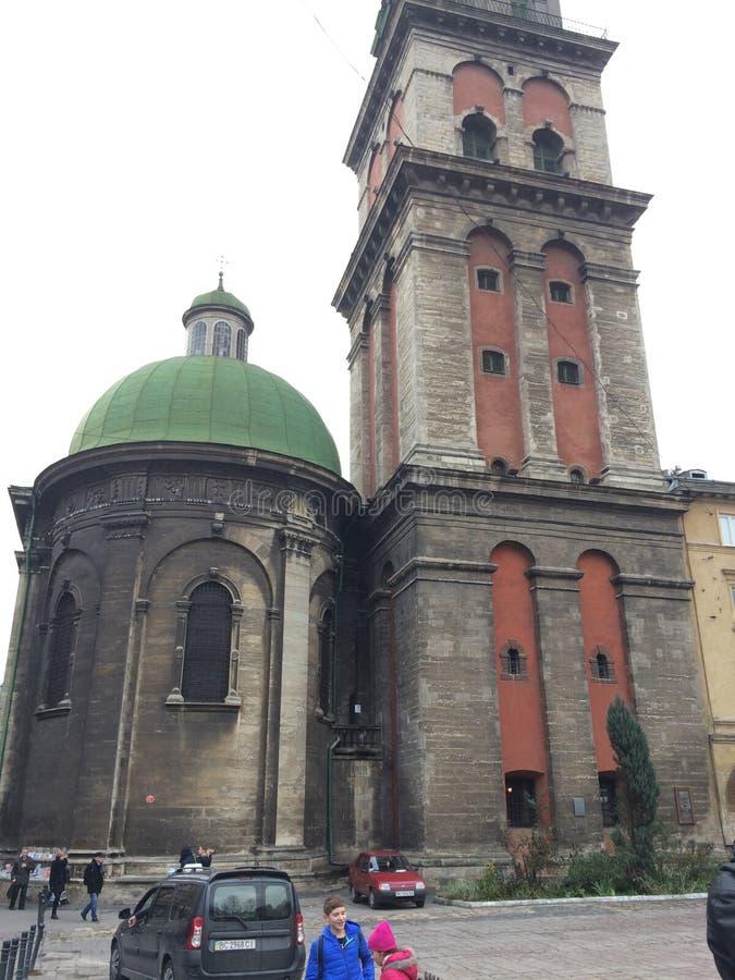 Iglesia, ciudad de Lviv, Ucrania, catedral fotografía de archivo