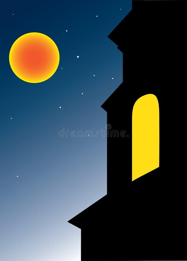 Iglesia con la ventana abierta ilustración del vector