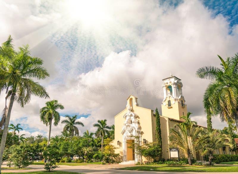 Iglesia congregacional de Coral Gables en Miami foto de archivo