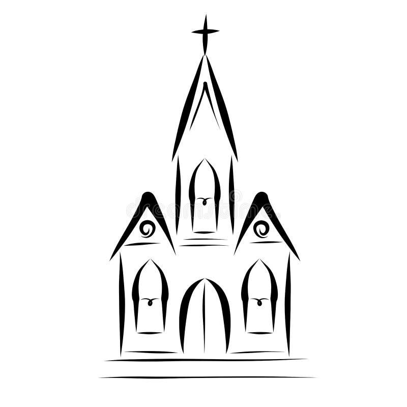 Iglesia cristiana con un bosquejo cruzado, negro libre illustration