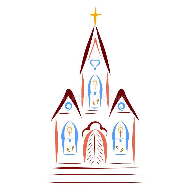 Iglesia cristiana con una cruz en el tejado y simbolismo en el w libre illustration