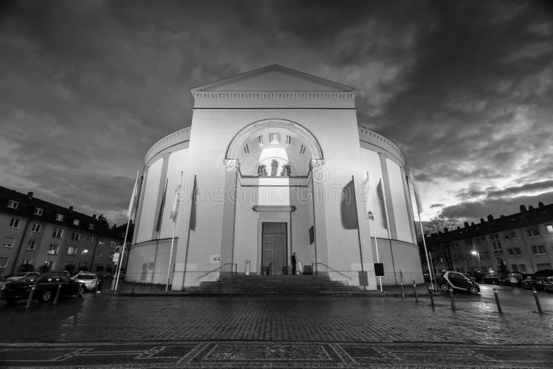Iglesia Darmstad Alemania de Stludwig en blanco y negro imágenes de archivo libres de regalías