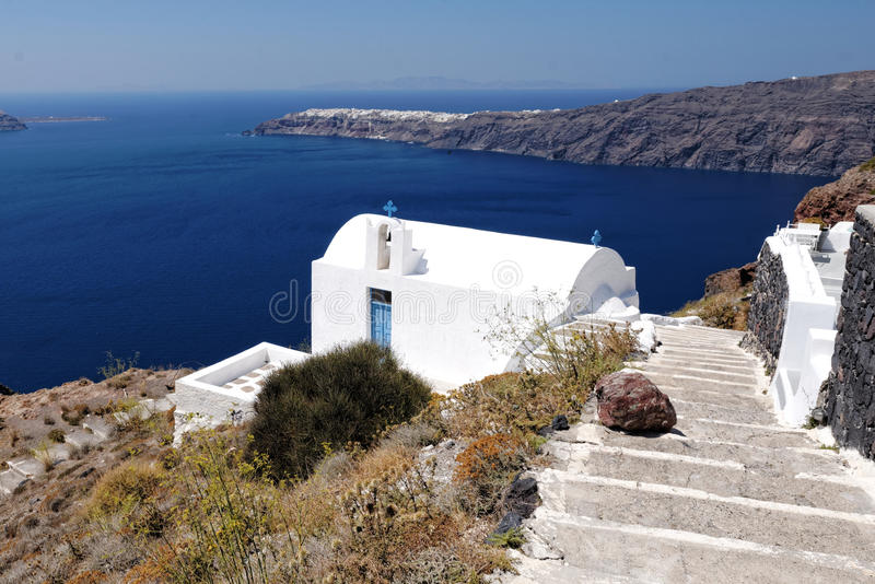 Iglesia de Agios Georgios, Santorini fotos de archivo